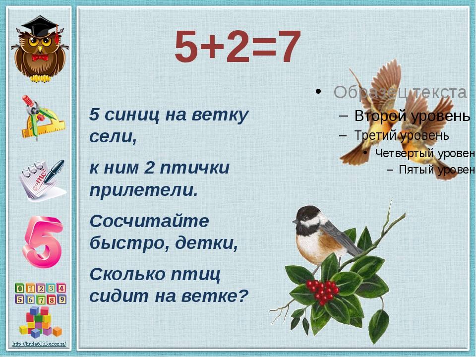 5+2=7 5 синиц на ветку сели, к ним 2 птички прилетели. Сосчитайте быстро, дет...