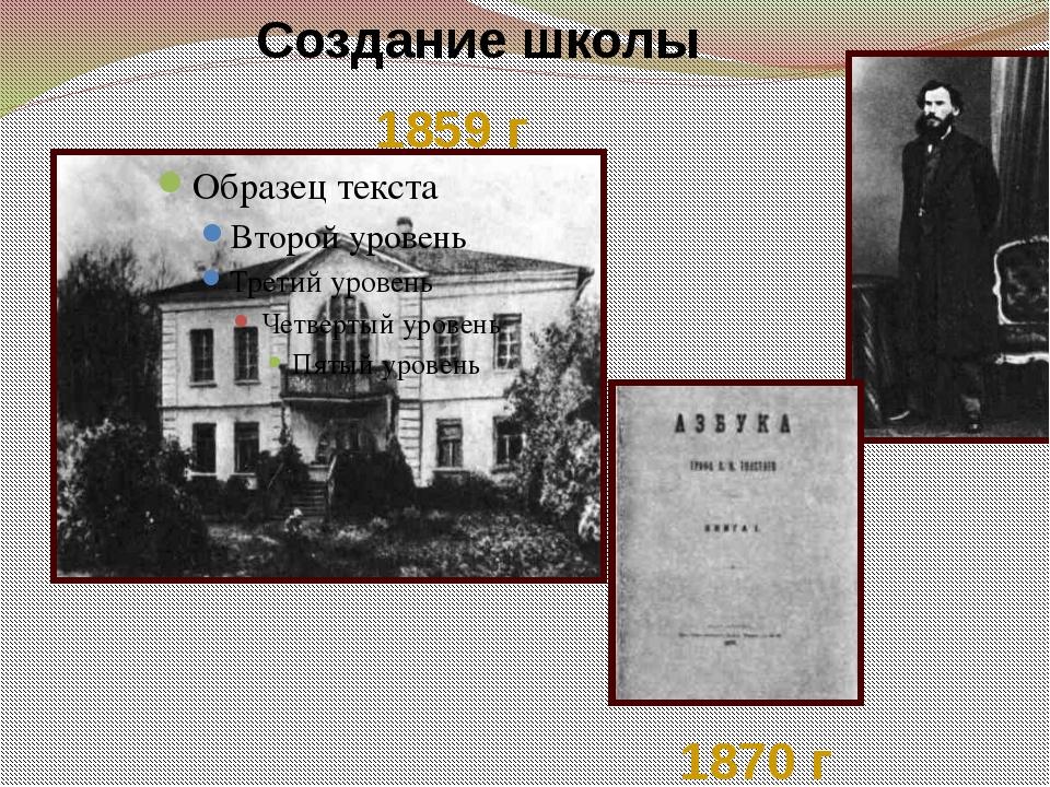 1859 г Создание школы 1870 г Мы знаем, что в 1859году он открыл в Ясной Полян...