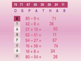 80 – 9 = 42 – 6 = 37 + 13 = 62 – 51 = 94 – 27 = 16 + 58 = 16 + 8 = 80 – 54 =