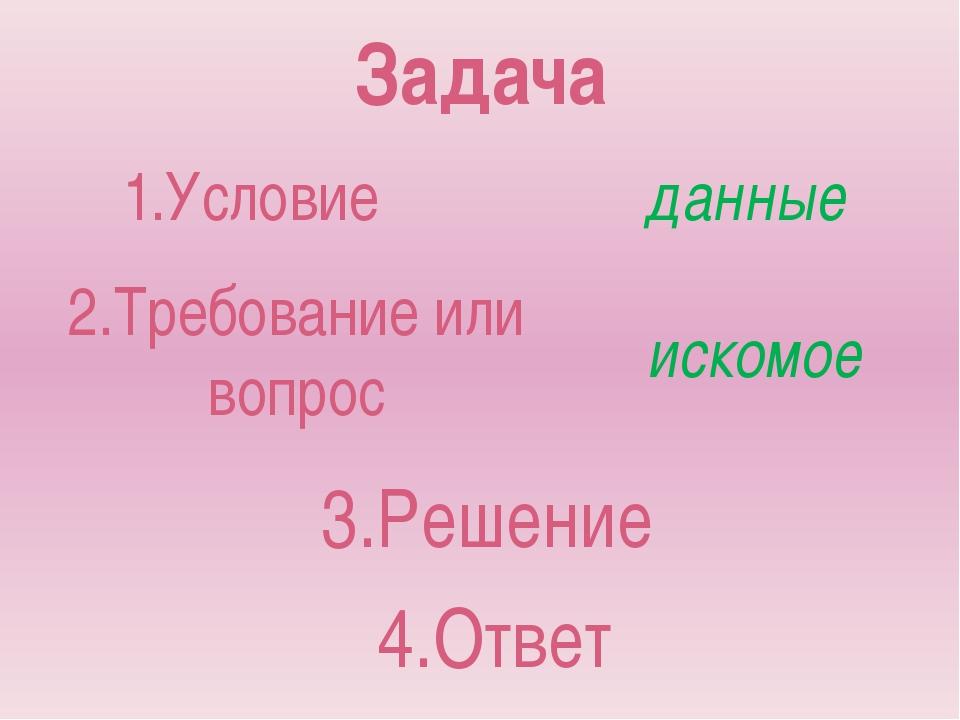 Задача 1.Условие 2.Требование или вопрос данные искомое 3.Решение 4.Ответ