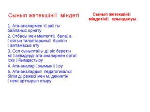 Сынып жетекшінің міндетіСынып жетекшінің міндетінің орындалуы 1. Ата-аналарм