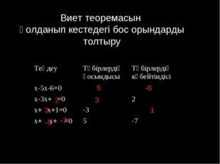 Виет теоремасын қолданып кестедегі бос орындарды толтыру 5 -6 2 3 3 1 -5 -7 Т