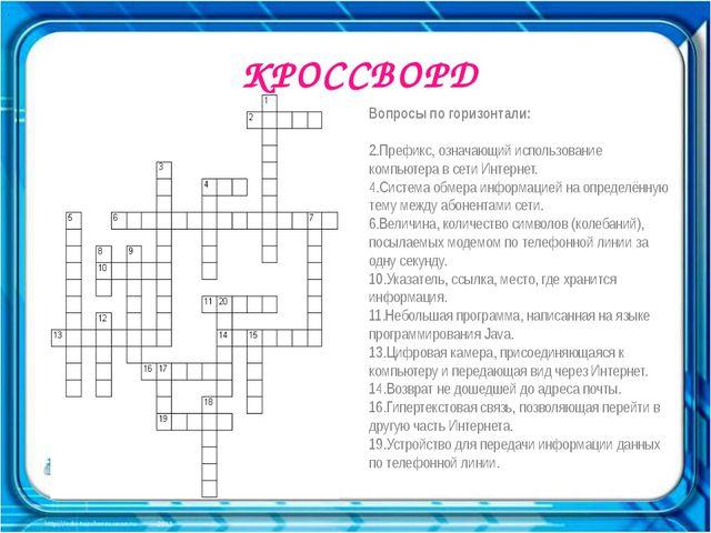 КРОССВОРД . Вопросы по горизонтали:  2.Префикс, означающий использование ком...