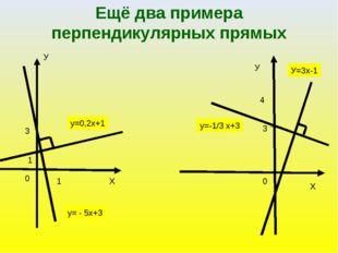 У Х 1 3 1 у=0,2х+1 у= - 5х+3 У Х 3 4 у=-1/3 х+3 У=3x-1 0 0 Ещё два примера пе