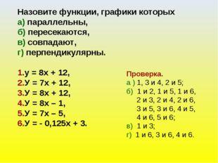 Назовите функции, графики которых а) параллельны, б) пересекаются, в) совпада