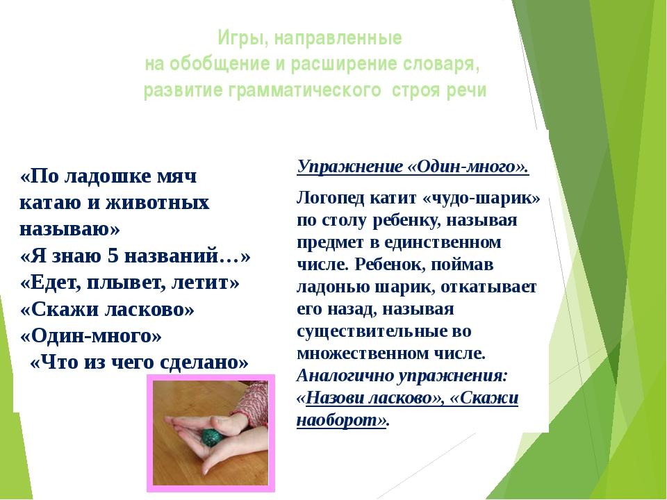 Игры, направленные на обобщение и расширение словаря, развитие грамматическог...