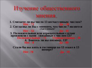 1. Считаете ли вы число 13 несчастливым числом? Нет - 71 Да – 26 2. Согласны