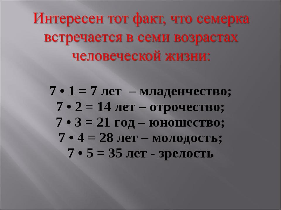 7 • 1 = 7 лет – младенчество; 7 • 2 = 14 лет – отрочество; 7 • 3 = 21 год – ю...