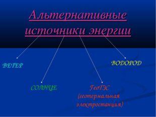 Альтернативные источники энергии ВЕТЕР СОЛНЦЕ ГеоТЭС (геотермальная электрост