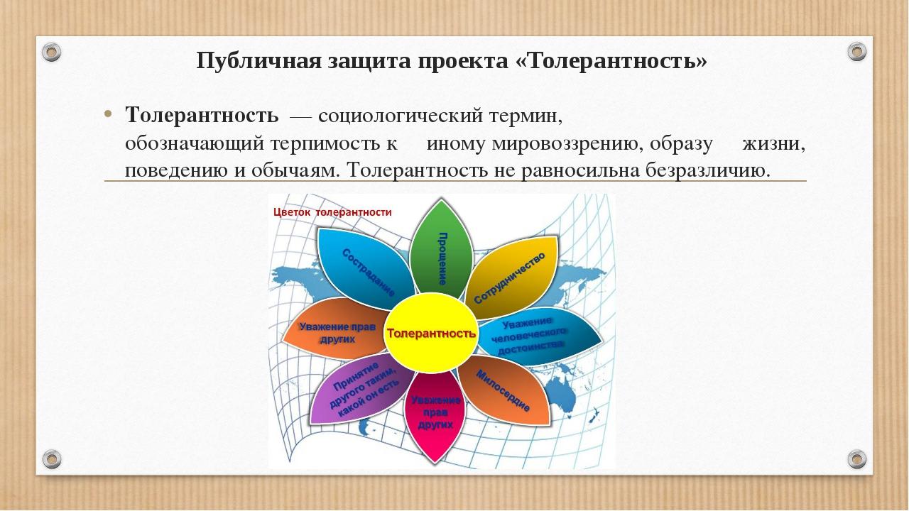 Публичная защита проекта «Толерантность» Толерантность—социологическийтер...