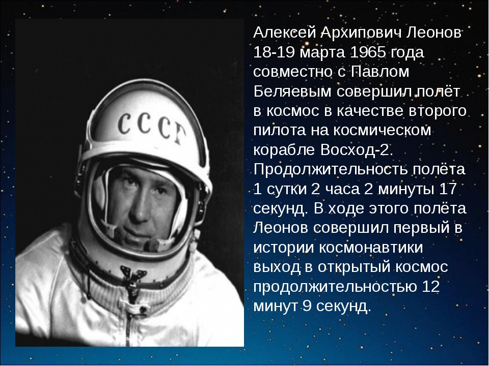 Алексей Архипович Леонов 18-19 марта 1965 года совместно с Павлом Беляевым со...