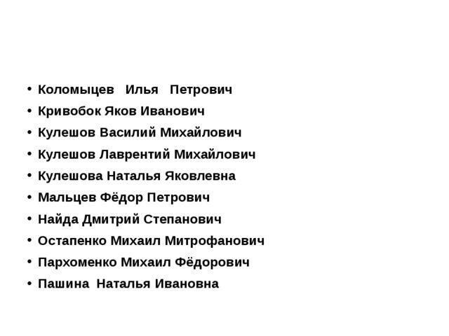 Коломыцев Илья Петрович Кривобок Яков Иванович Кулешов Василий Михайлович Ку...