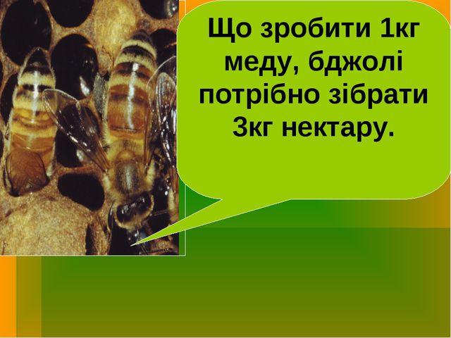 Що зробити 1кг меду, бджолі потрібно зібрати 3кг нектару.