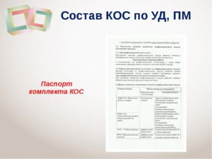 Состав КОС по УД, ПМ Паспорт комплекта КОС