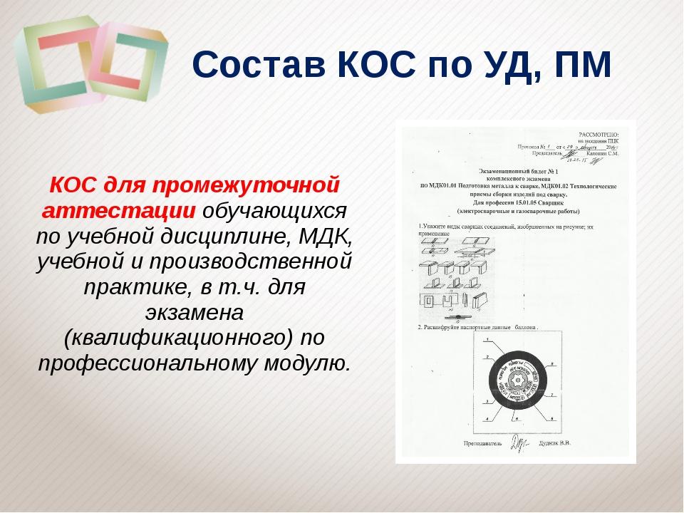 Состав КОС по УД, ПМ КОС для промежуточной аттестации обучающихся по учебной...