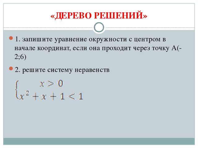 «ДЕРЕВО РЕШЕНИЙ» 1. запишите уравнение окружности с центром в начале координа...