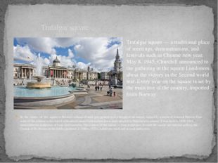 In the centre of the square is Nelson's column of dark gray granite with a he