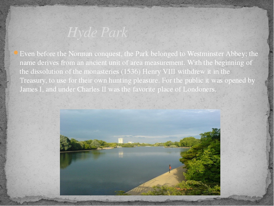 Even before the Norman conquest, the Park belonged to Westminster Abbey; the...