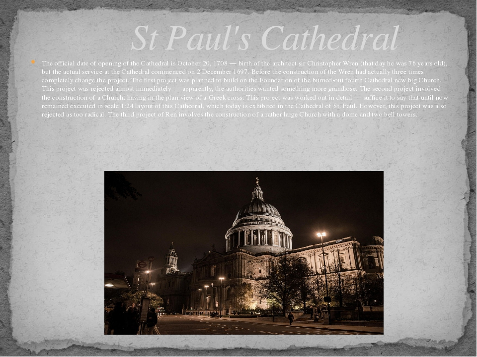 The official date of opening of the Cathedral is October 20, 1708 — birth of...
