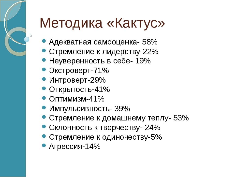 Методика «Кактус» Адекватная самооценка- 58% Стремление к лидерству-22% Неуве...