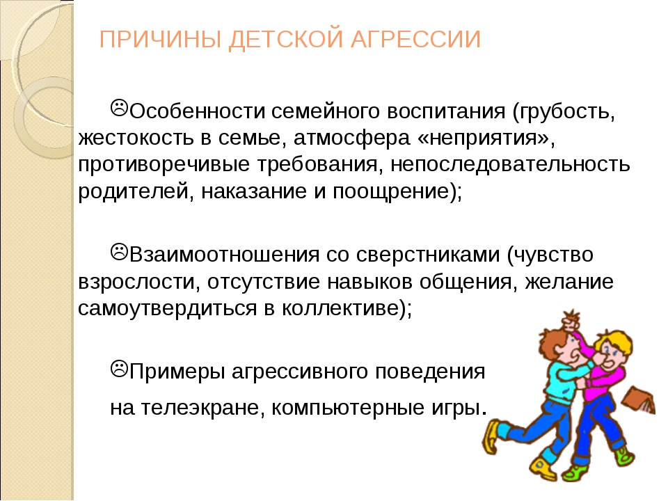 ПРИЧИНЫ ДЕТСКОЙ АГРЕССИИ Особенности семейного воспитания (грубость, жестокос...