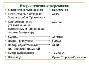 Второстепенные персонажи Камердинер Дубровского Штаб-лекарь в лазарете больны
