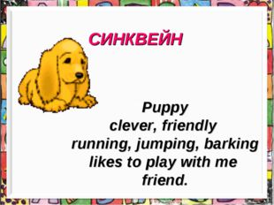 СИНКВЕЙН Puppy clever, friendly running, jumping, barking likes to play with