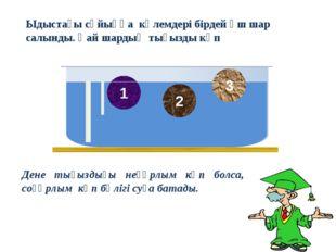 Дене тығыздығы неғұрлым көп болса, соғұрлым көп бөлігі суға батады. 1 2 3 Ыды