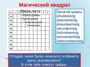 Магический квадрат Отгадай, какая буква немецкого алфавита здесь зашифрована?