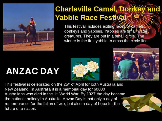 Charleville Camel, Donkey and Yabbie Race Festival This festival includes exi...