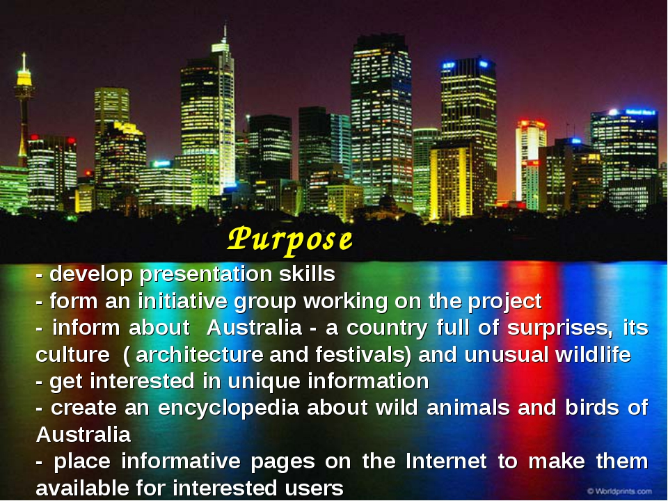 Purpose - develop presentation skills - form an initiative group working on t...