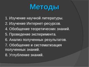 Методы 1. Изучение научной литературы. 2. Изучение Интернет-ресурсов. 4. Обоб