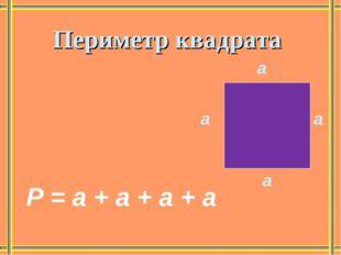 а Периметр квадрата Р = а + а + а + а а а а