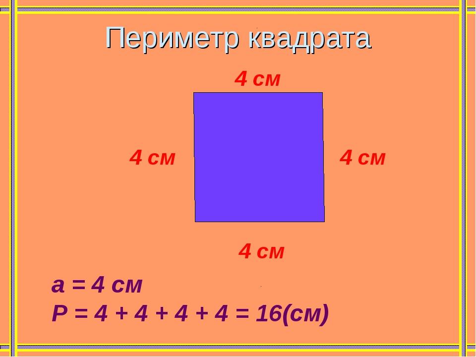 Периметр квадрата 4 см 4 см 4 см 4 см а = 4 см Р = 4 + 4 + 4 + 4 = 16(см)