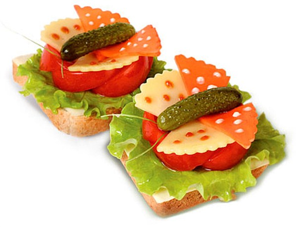 праздничные бутерброды бабочки
