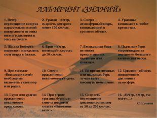 ЛАБИРИНТ «ЗНАНИЙ» 1. Ветер – перемещение воздуха параллельно земной поверхнос