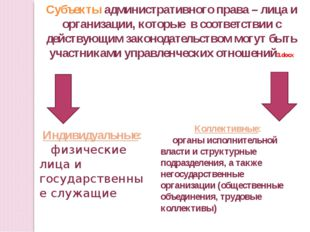 Субъекты административного права – лица и организации, которые в соответствии