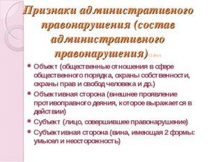 Признаки административного правонарушения (состав административного правонару