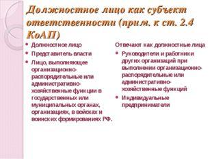 Должностное лицо как субъект ответственности (прим. к ст. 2.4 КоАП) Должностн