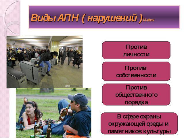Виды АПН ( нарушений )13.docx Против личности Против собственности Против общ...