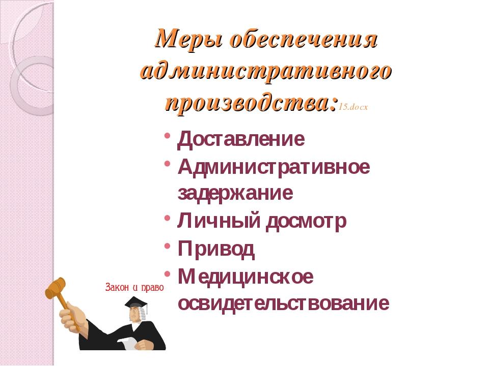 Меры обеспечения административного производства:15.docx Доставление Администр...