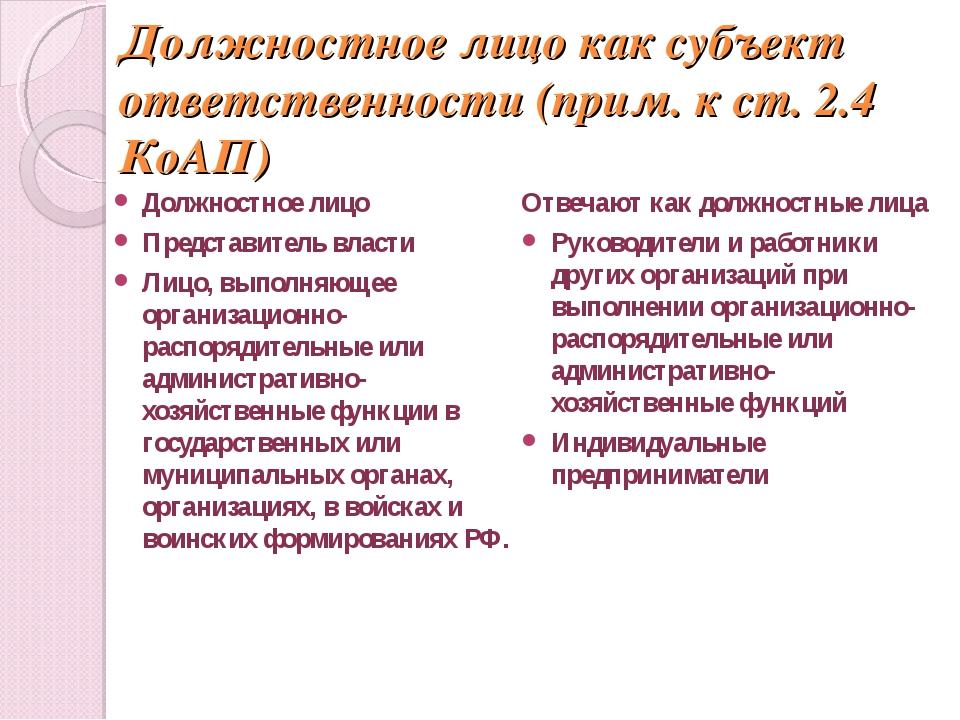 Должностное лицо как субъект ответственности (прим. к ст. 2.4 КоАП) Должностн...