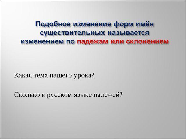Какая тема нашего урока? Сколько в русском языке падежей?