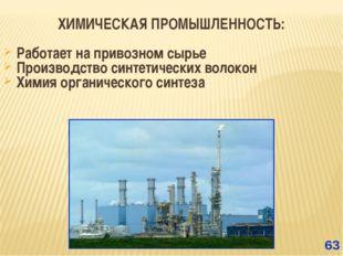 ХИМИЧЕСКАЯ ПРОМЫШЛЕННОСТЬ: Работает на привозном сырье Производство синтетиче