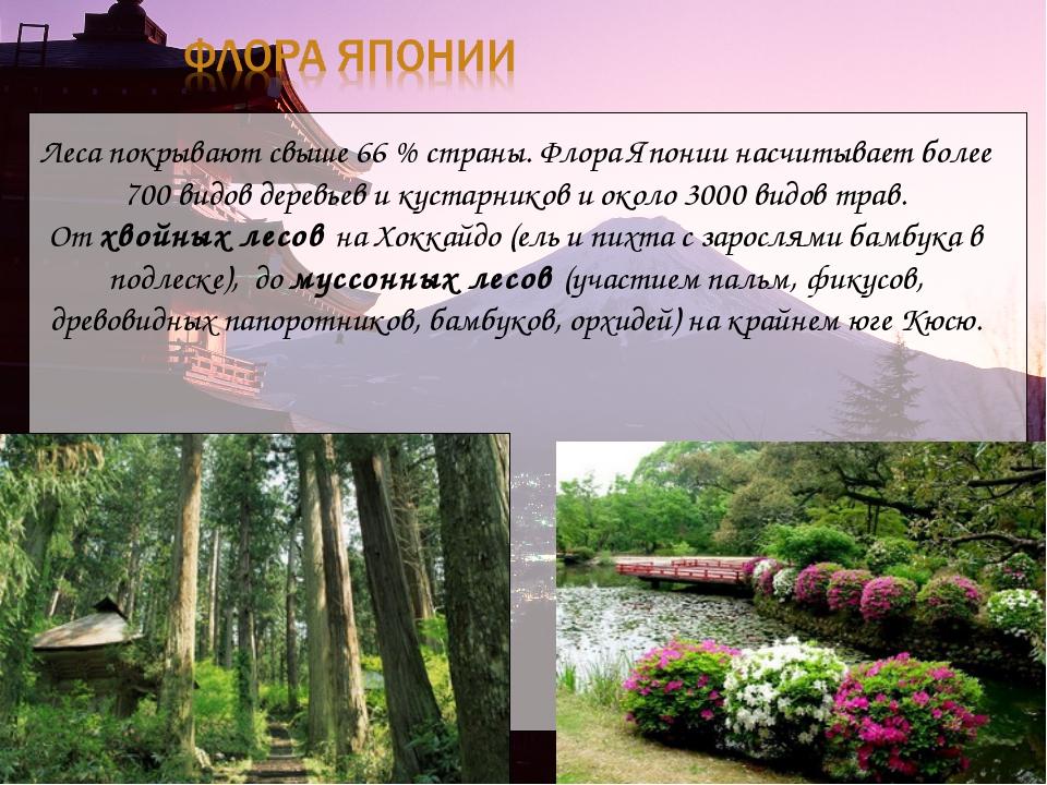 Леса покрывают свыше 66% страны. Флора Японии насчитывает более 700 видов де...