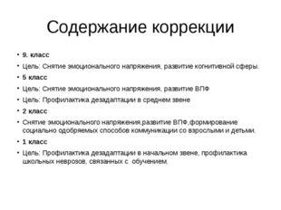 Содержание коррекции 9. класс Цель: Снятие эмоционального напряжения, развити