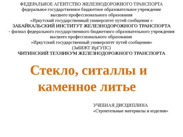 ФЕДЕРАЛЬНОЕ АГЕНТСТВО ЖЕЛЕЗНОДОРОЖНОГО ТРАНСПОРТА федеральное государственное...