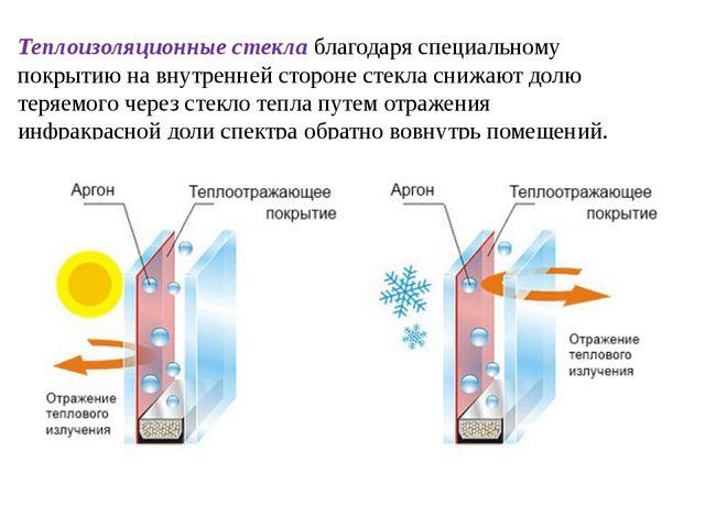 Теплоизоляционные стекла благодаря специальному покрытию на внутренней сторон...