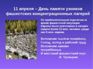 11 апреля – День памяти узников фашистских концентрационных лагерей По прибл