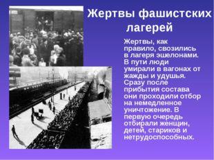 Жертвы фашистских лагерей Жертвы, как правило, свозились в лагеря эшелонами.